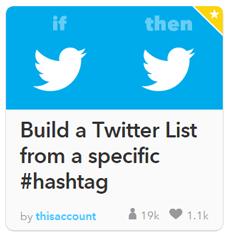 criar uma lista de pessoas que usaram a #hashtag